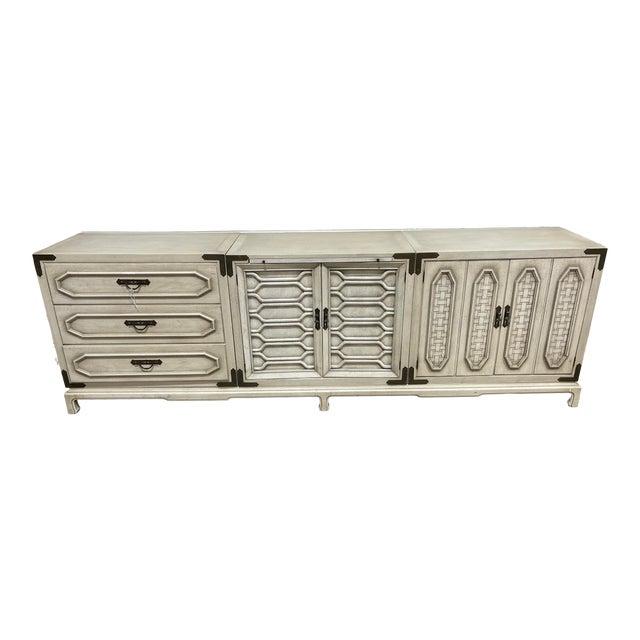 Monumental Thomasville Regency Style White Wash Credenza For Sale