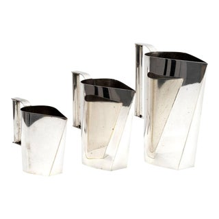 Set of 3 Silver Plated Modernist Pitchers Attributed to Cini Boeri, circa 1975 For Sale