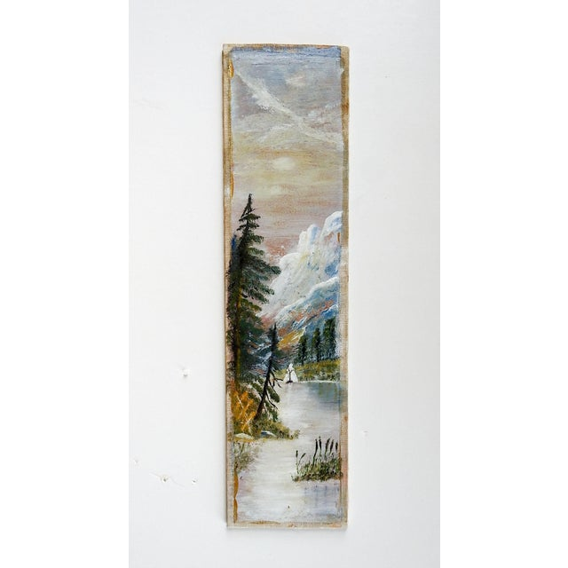 Rustic Folk Art Landscape Long Format Painting For Sale - Image 3 of 3