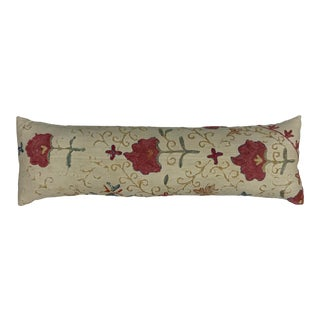 Antique Silk Single Long Embroidered Suzani Pillow For Sale
