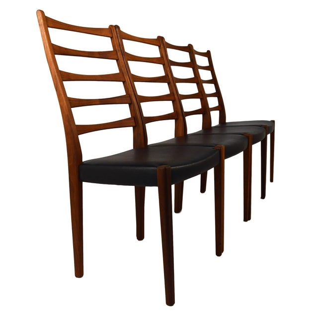 Set Of 4 Teak Ladder Back Chairs By Svegards - Image 2 of 10