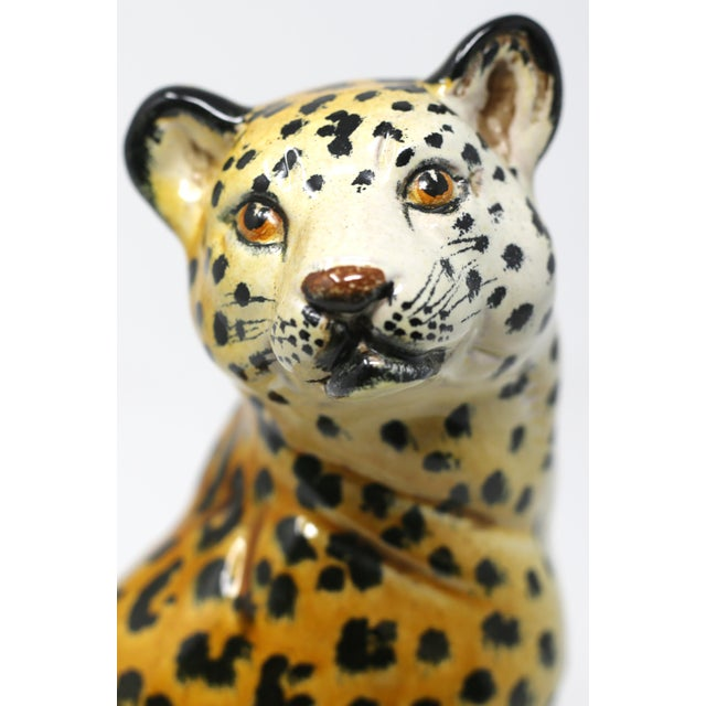 Hollywood Regency Vintage Italian Cheetah Hand-Painted Majolica Ceramic Leopard Figure For Sale - Image 3 of 12