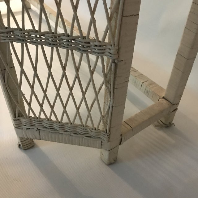 Wicker White Wicker Console or Dressing Table For Sale - Image 7 of 13