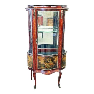 1920s Antique Italian Curved Glass Curio Cabinet For Sale