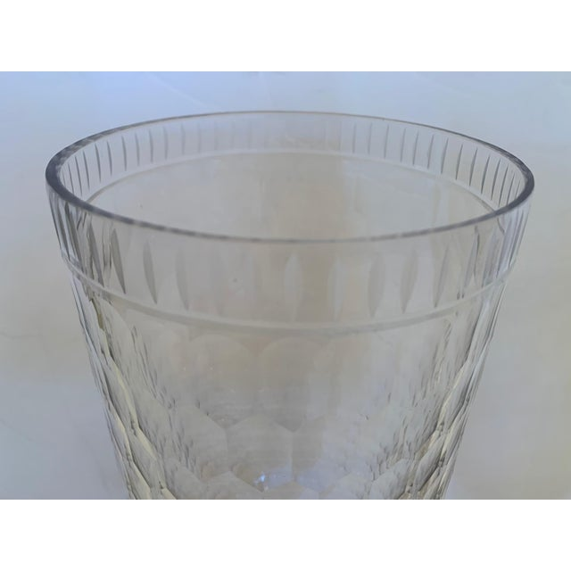 Glass Cylindrical Cut Glass Hurricanes Candle Holders -A Pair For Sale - Image 7 of 10