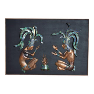 Mid Century Mexican Modernist Los Castillo Mayan Wood Art Panel Large Bronze Malachite For Sale