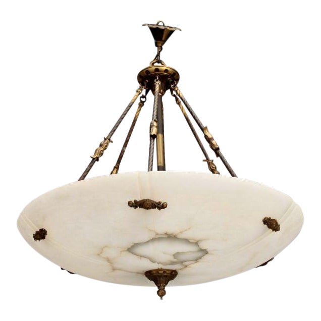 Large Italian Alabaster Neoclassical Style Fixture with Bronze Chain and Fittings For Sale