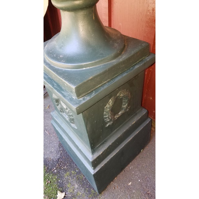 Vintage Handpainted Delle Robia Style Tall Fiberglass Planter Urn on Plinth For Sale - Image 4 of 6