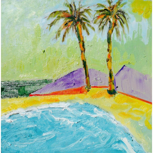 Oil Paint Two Beach Palms For Sale - Image 7 of 7