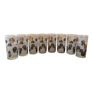 20th Century Hollywood Regency World Coin High Ball Glasses - Set of 8 For Sale