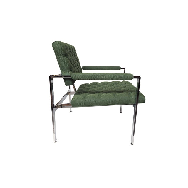 Milo Baughman for Thayer Coggin 1960s Flat-Bar Chrome Club Chairs by Milo Baughman for Thayer Coggin - a Pair For Sale - Image 4 of 14