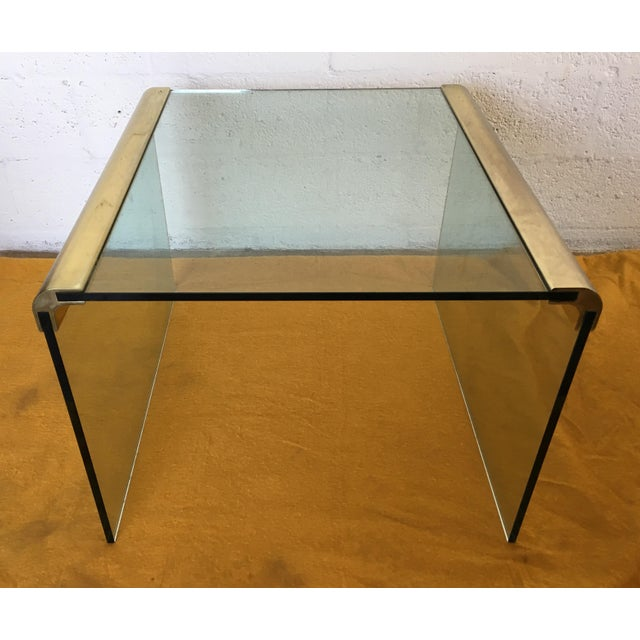 Vintage Leon Rosen Glass and Brass End Table for Pace Collection - Image 4 of 10