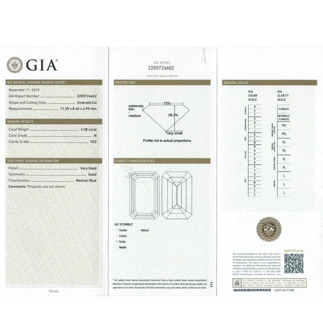 Modern Stunning Emerald Cut Diamond Stone 4.08 Carat, Gia Certified Report For Sale - Image 3 of 9