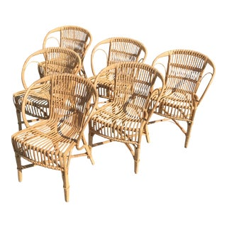 Set of 6 Rattan Dining Chairs by R. Wengler for Sika Design