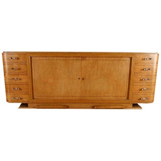 1940s Art Deco Amboyna Sideboard With Lucite Pulls For Sale