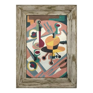 Mid-Century Modern Cubist Still Life Painting For Sale