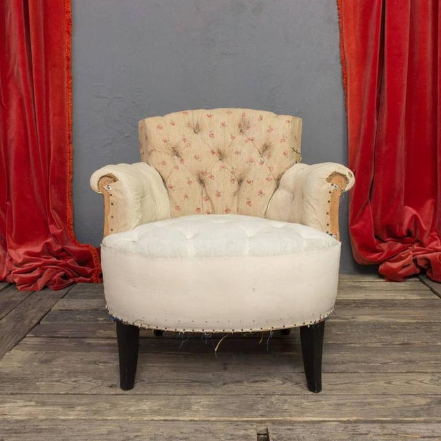 Art Deco Pair of Small French Art Deco Style Tufted Armchairs For Sale - Image 3 of 10