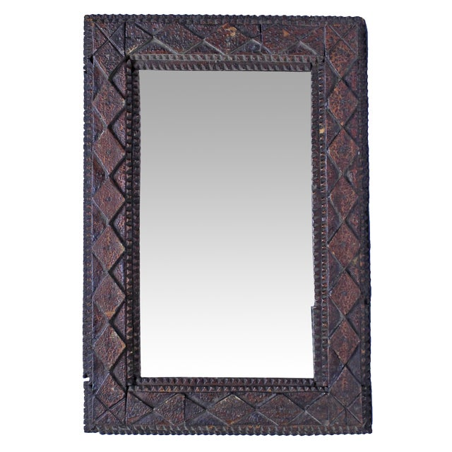 Vintage Diamond Tramp Art Mirror - Image 1 of 3