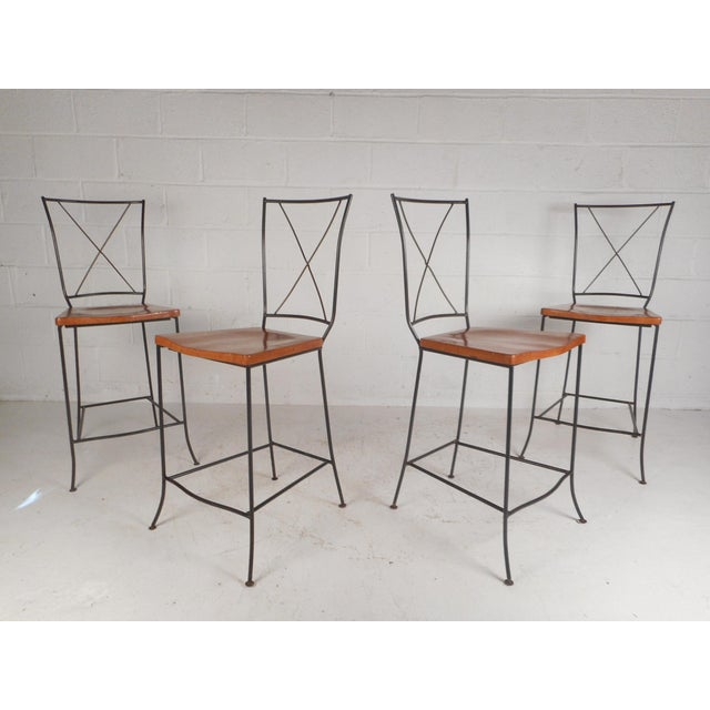 Set of Four Mid-Century Iron and Wood Bar Stools For Sale - Image 12 of 12
