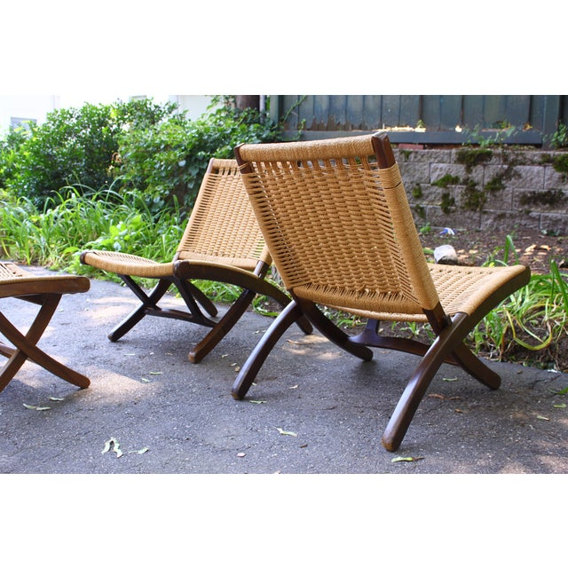 Hans Wegner Hans Wegner Style Rope Chairs & Stools - A Pair For Sale - Image 4 of 11