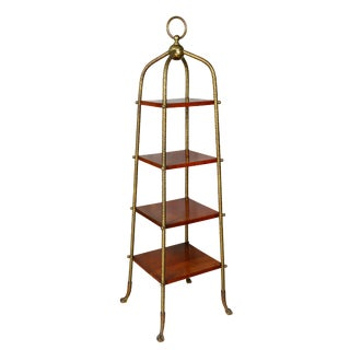 American Aesthetic Brass and Cherry Etagere