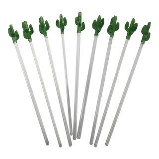 1970s Southwestern Glass Cactus Swizzle Sticks - Set of 9