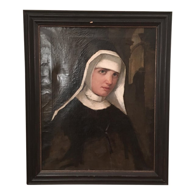 Antique Oil Painting of a Nun - Image 1 of 6