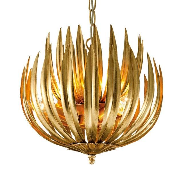 "Art Deco Florentine Antique Gold Leaf Artichoke Light (13.8"") For Sale - Image 3 of 3"