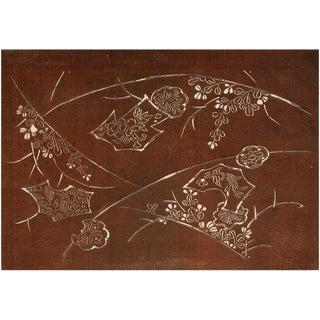 1850s Antique Edo Era Japanese Landscape With Hills and Phoenix Bird Katagami Stencil For Sale