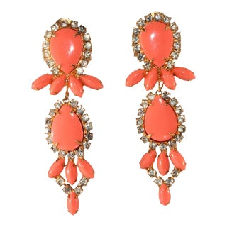 Kenneth Jay Lane 3 Inch Coral and Clear Rhinestone Dangle Earrings Kjl For Sale