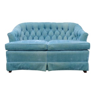 Vintage Turquoise Velvet Tufted Loveseat Settee For Sale