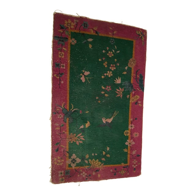 Antique Chinese Art Deco Flowers & Birds Rug - 2′11″ × 4′10″ - Image 1 of 9