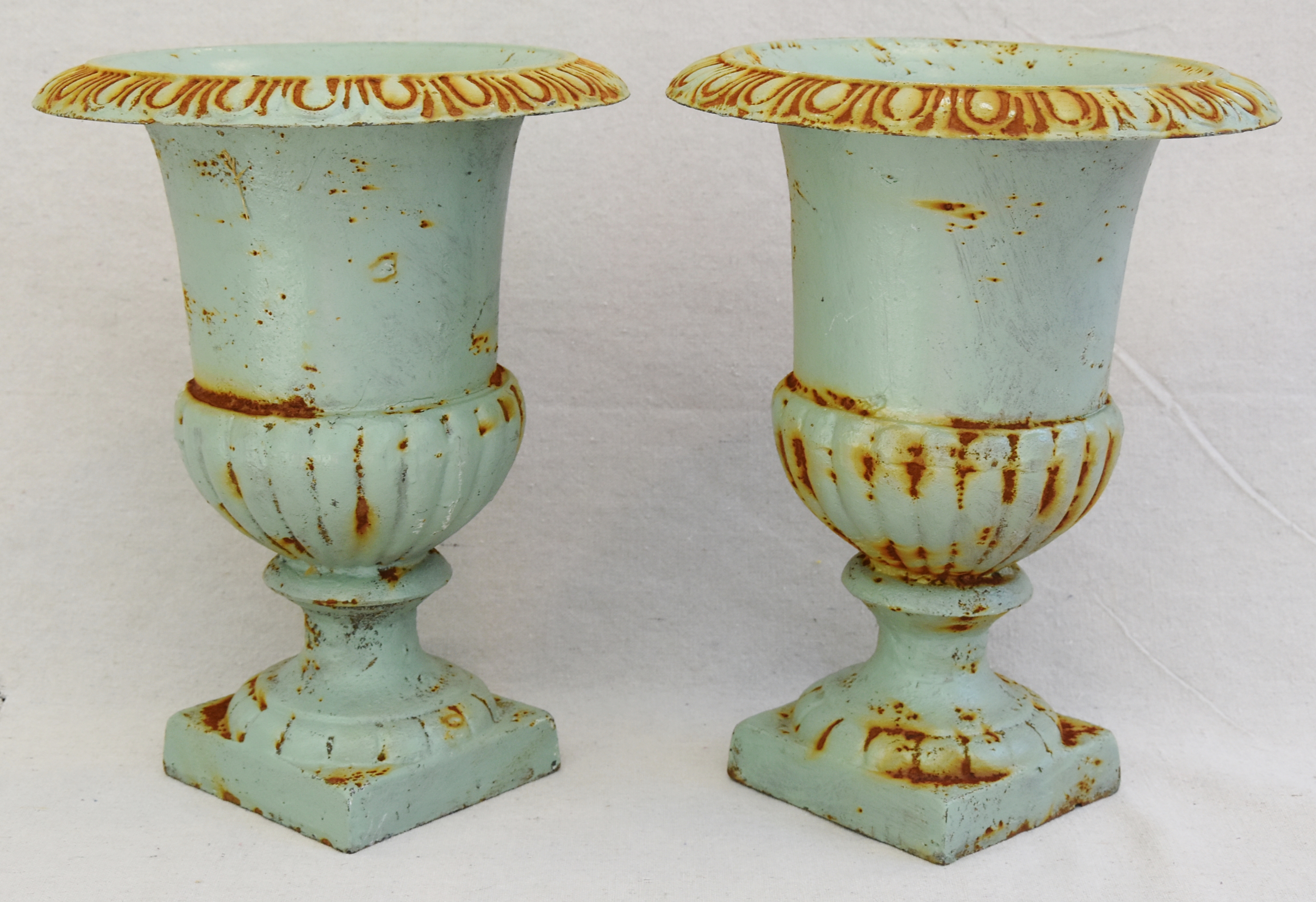 Vintage Teal Blue Cast Iron Urn Planters Pair Chairish