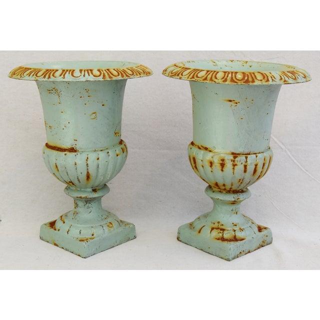 Cast Iron Vintage Teal/Blue Cast Iron Urn Planters - Pair For Sale - Image 7 of 11