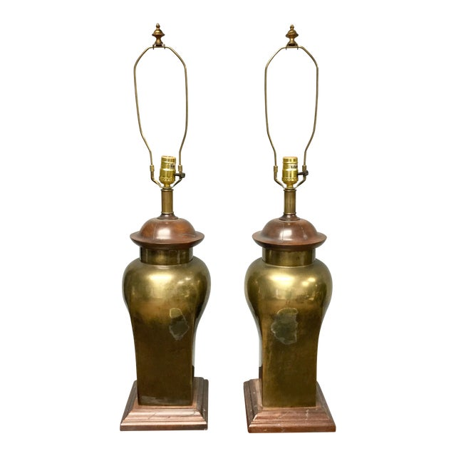 20th Century Hollywood Regency Ethan Allen Brass Table Lamps - a Pair For Sale