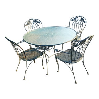 Vintage Cast Iron Dining Table & 4 Dining Chairs For Sale