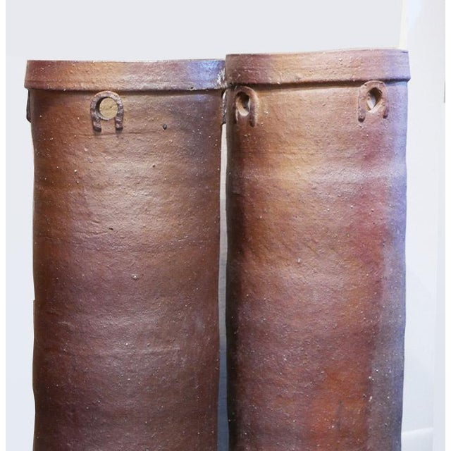 Mid-Century Modern Brown Cylinder Vessels - a Pair For Sale - Image 3 of 5
