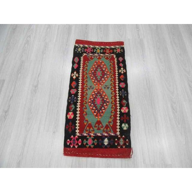 Islamic Vintage Mini Kilim Rug - 1′8″ × 3′8″ For Sale - Image 3 of 4