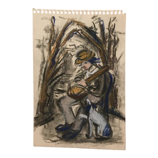 1950s Vintage A Minstrel and His Dog Pastel Drawing For Sale