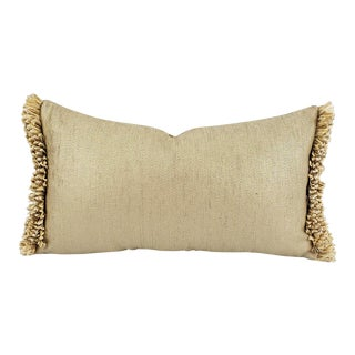 Schumacher Glimmer in Champagne With Matching Uncut Gold Fringe Embellished Lumbar Pillow Cover For Sale