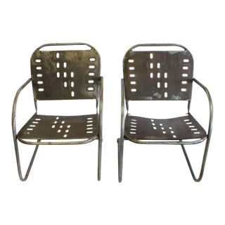 Mid-Century Garden Metal Lounge Chairs - A Pair