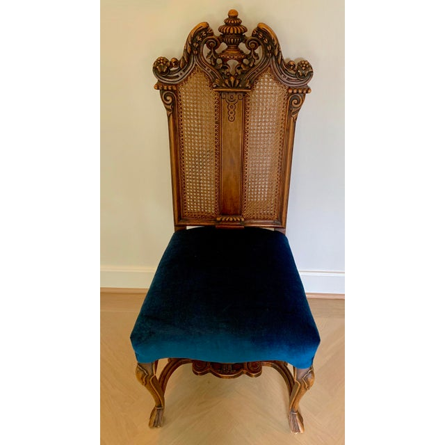 Italian Rococo caned back side chair with blue velvet seat, recently upholstered. Stunning color.