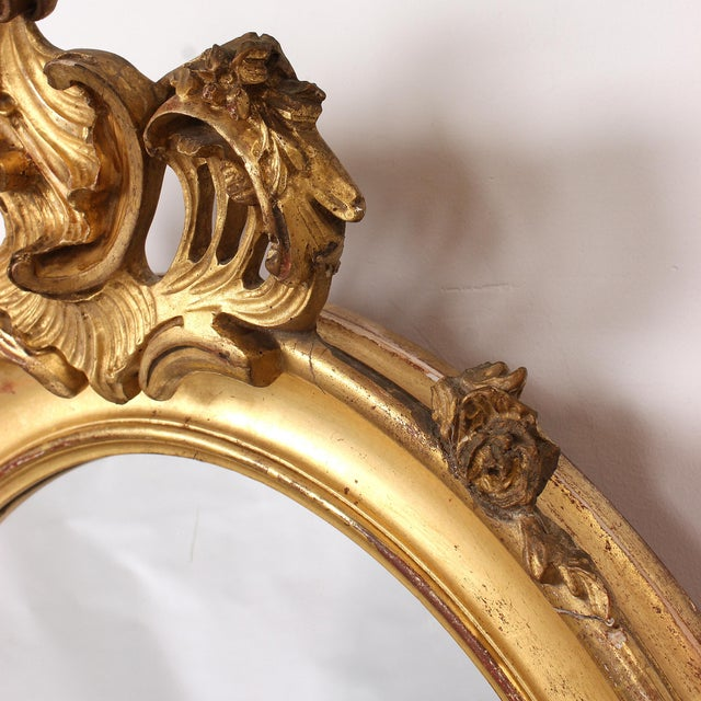 French Louis XV Style Giltwood Oval Mirror For Sale - Image 10 of 11