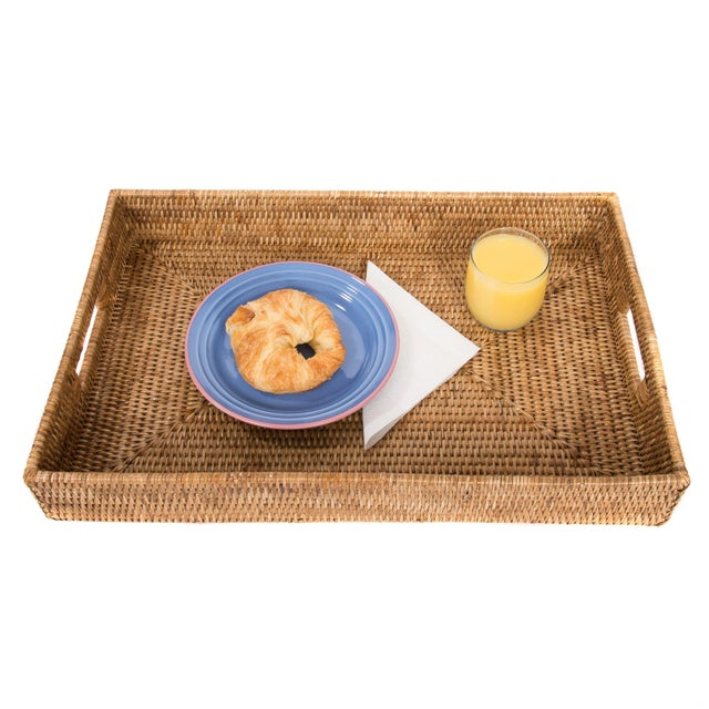 2010s Artifacts Rattan Rectangular Tray For Sale - Image 5 of 5
