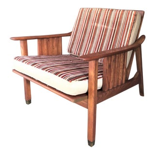Stanley Mid-Century Danish Modern Wood with Brass Foot Lounge Chair For Sale