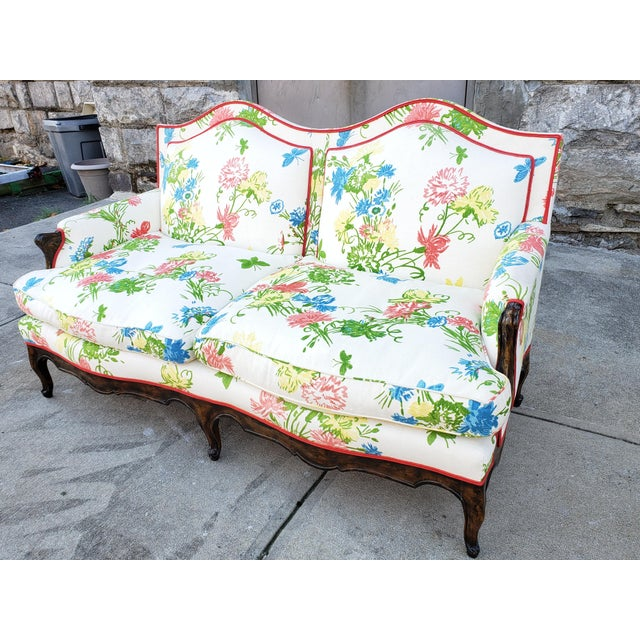 Vintage Louis XV Style Floral Upholstery Settee For Sale - Image 11 of 13
