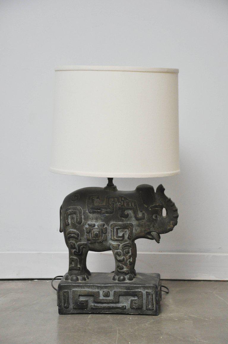 Bronzed Plaster Elephant Lamp   Image 3 Of 10
