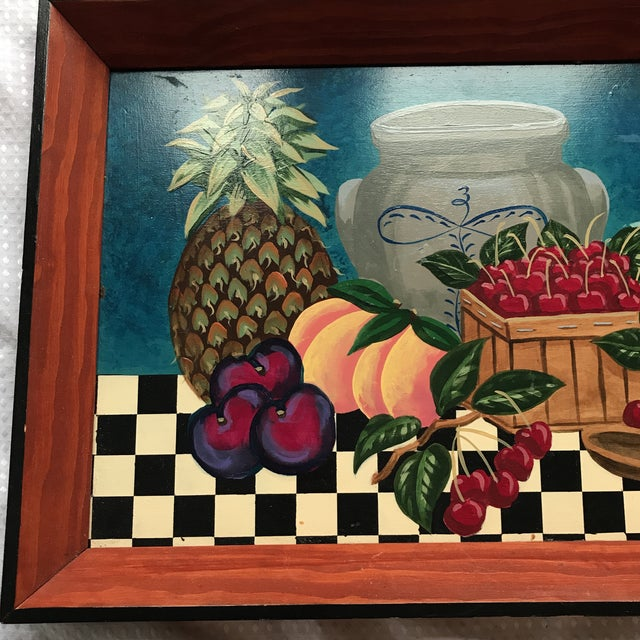 Cottage Painted Fruit Wooden Tray For Sale - Image 3 of 7