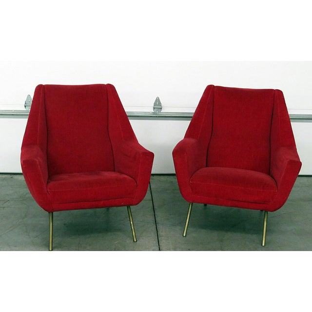Mid 20th Century Red Italian Modern Lounge Chairs - a Pair For Sale - Image 9 of 9