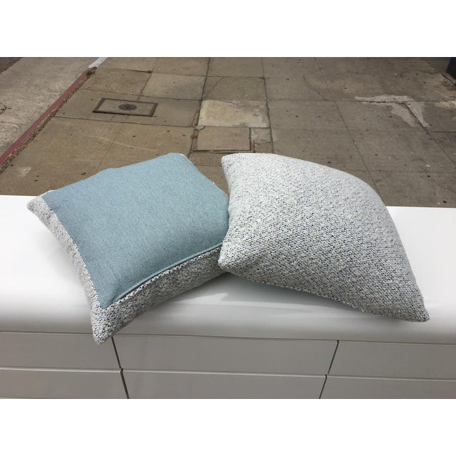 """Brand new custom 20"""" x 20"""" pillows with designer White Boucle with navy blue and sea blue accent threads. Sea foam blue..."""